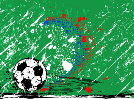 Grunge soccer  football, design template, free copy space, with soccer ball Illustration