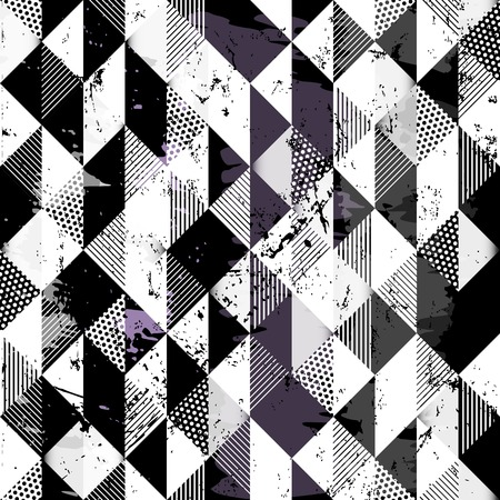 abstract geometric background pattern, with squares, dots, paint strokes and splashes, black and white