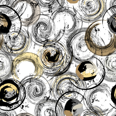 A seamless background pattern, with circles, strokes and splashes, black and white.