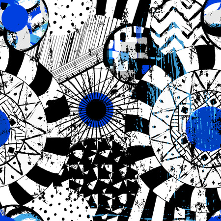 seamless geometric pattern background, with circles, strokes and splashes, black and white