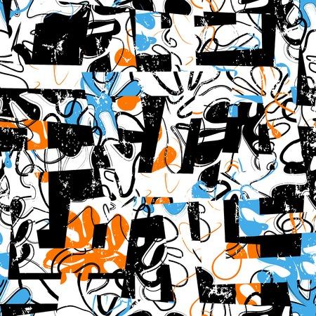 naadloze achtergrondpatroon, met trapeze, ornamenten, penseelstreken en spatten, retro stijl Vector Illustratie