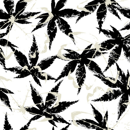 seamless background pattern, with leaves, paint strokes and splashes, black and white