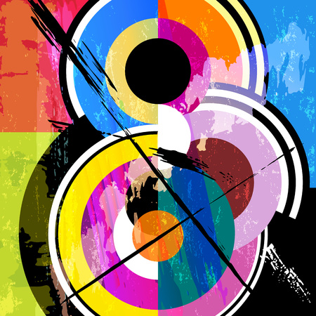 Abstract circle background, retro/vintage style, with paint strokes and splashes