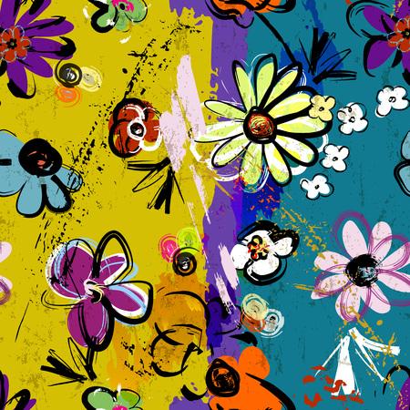 abstract background composition, with paint strokes, splashes and flowers, seamless Vektoros illusztráció