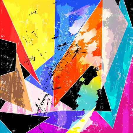 abstract geometric background, with triangles, strokes and splashes Stock Illustratie