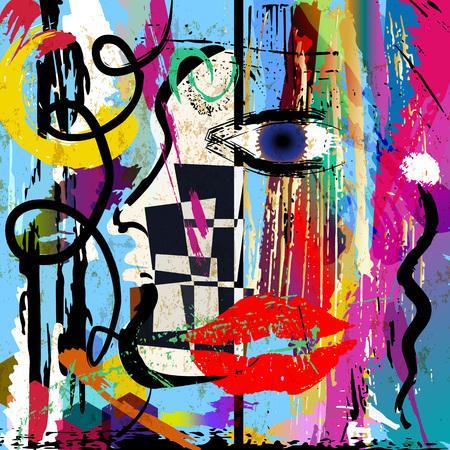 composición de fondo abstracto, con trazos de pintura y salpicaduras