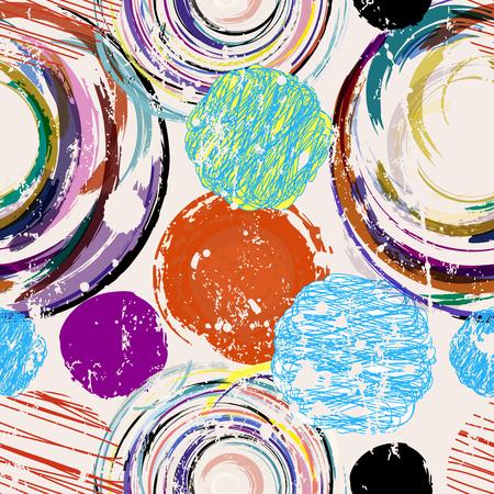 Círculos abstractos sin fisuras y fondo de puntos, textura sucia, ilustración vectorial Ilustración de vector