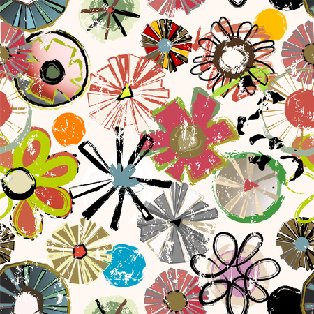 seamless abstract flowers background pattern, grungy texture