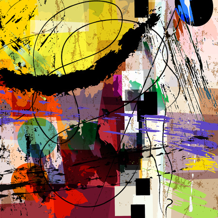 abstract background composition, with paint strokes, splashes and geometric lines Illustration