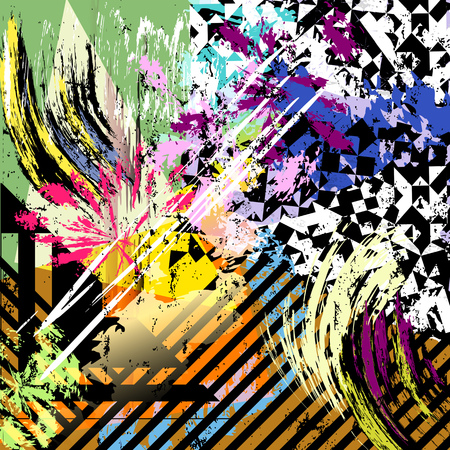 Abstract vector artwork, paint strokes, geometric objects, floral elements, grunge style with vibrant colors. Background or print / web design Illustration