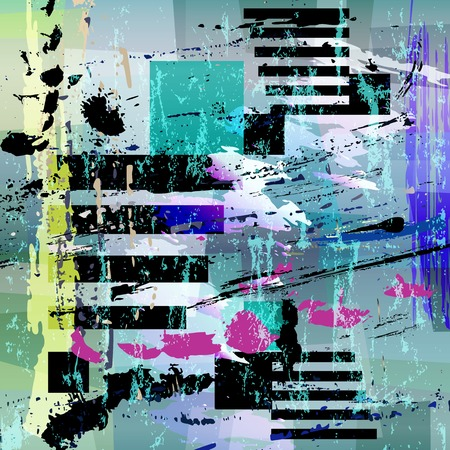 abstract geometric background composition, with strokes and splashes, grungy Ilustração