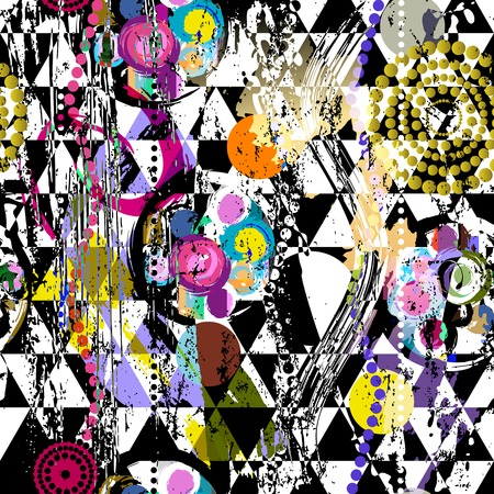 seamless abstract geometric background pattern, with circles, triangles, strokes and splashes, black and white