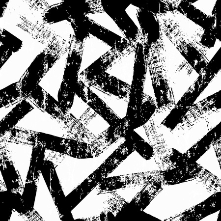 seamless background pattern, with stripes,  brush strokes and splashes, black and white