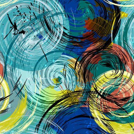 seamless background pattern, with circleswaves, strokes and splashes, grungy
