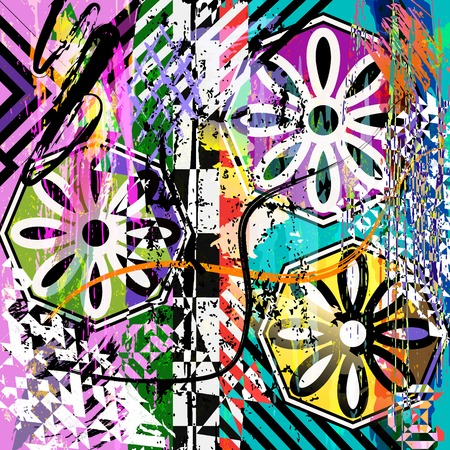 abstract background composition, with paint strokes, splashes and geometric lines Çizim