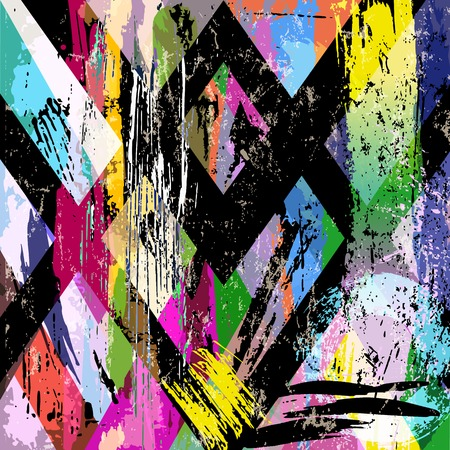 abstract background composition, with strokes, splashes and geometric lines Ilustração