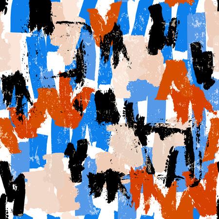 naadloze abstracte patroonachtergrond, illustratie met penseelstreken en spatten Vector Illustratie