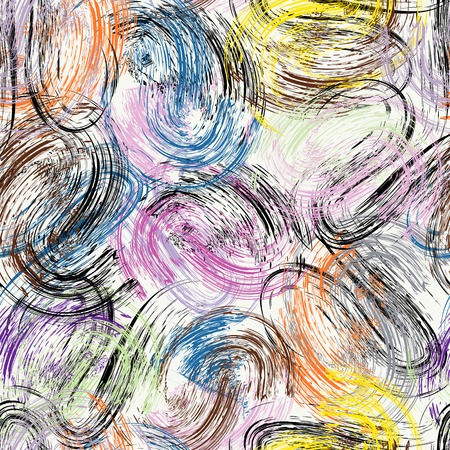 seamless background pattern, with circles, swirls, paint strokes and splashes Illustration