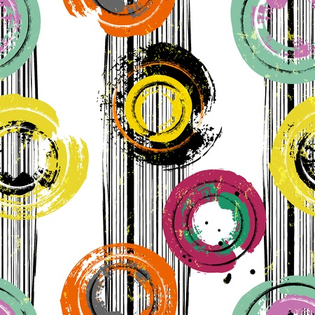 seamless background pattern, with circles, stripes, paint strokes and splashes Vectores