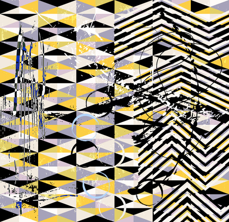 abstract geometric background pattern, with triangles, stripes, paint strokes and splashes