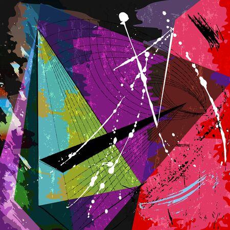Abstrakcyjna kompozycja geometryczna z pociągnięciami, plamami i liniami Ilustracje wektorowe