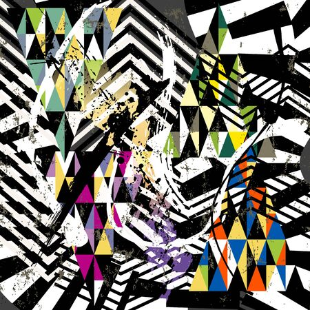 abstract geometric background pattern, with triangles, stripes, paint strokes and splashes, on black and white