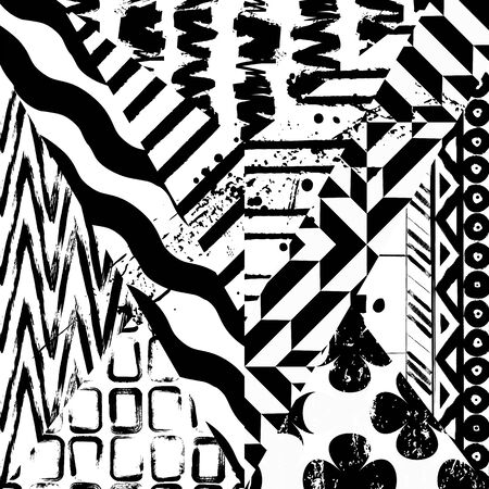 Black and white abstract art Illustration