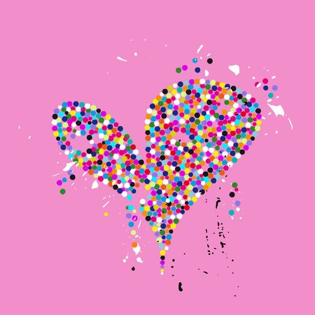 love concept, colorful heart with dotscircles, paint strokes and splashes, grungy