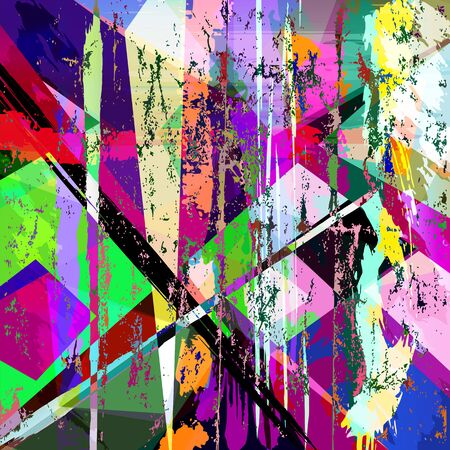 abstract geometric background, with paint strokes, splashes, triangles and squares