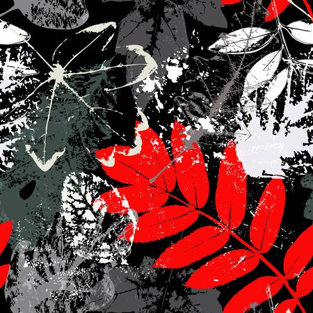 seamless background pattern, with leaves, paint strokes and splashes Vectores
