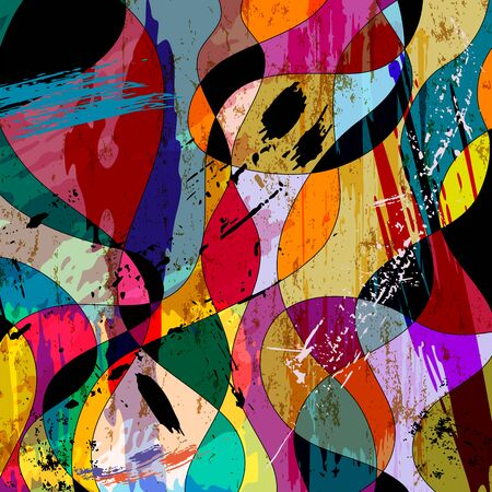 abstract colorful background composition, with strokes, splashes and waves
