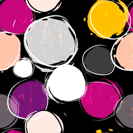 seamless background pattern, with circles / dots, strokes and splashes, on black