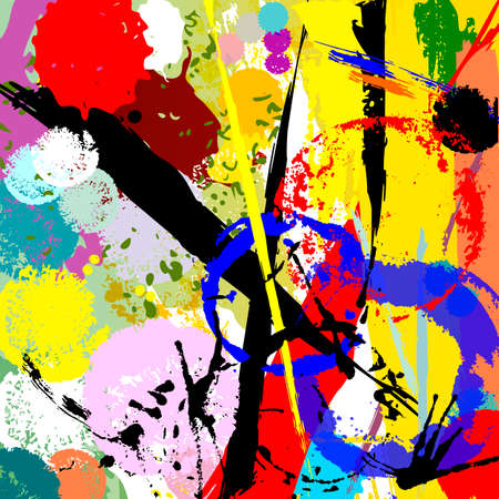 abstract background composition, with circles, paint strokes and splashes 矢量图像