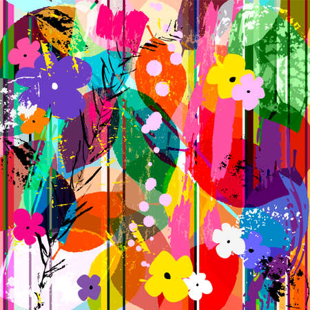 abstract background composition with little flowers, strokes, splashes and leaves Vector Illustration
