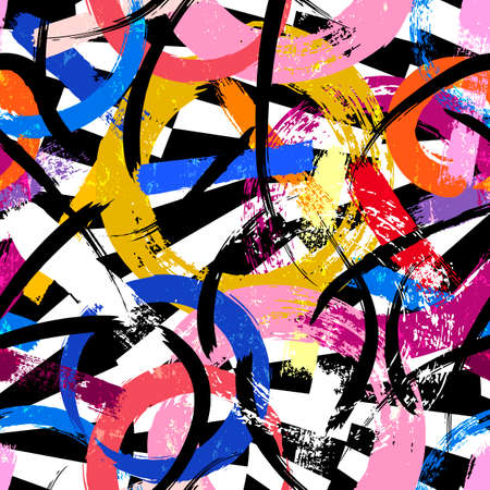 seamless background pattern, with circles, paint strokes and splashes, on black and white