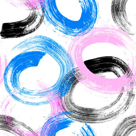 seamless abstract background pattern, with circles / swirls, paint strokes and splashes