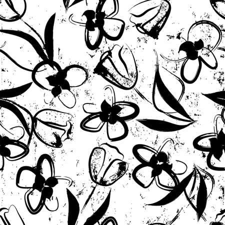 floral seamless background pattern, with paint strokes and splashes, black and white