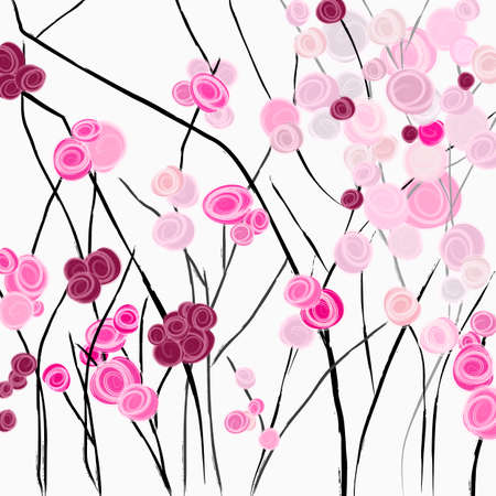 abstract background, illustration with abstract roses, rosebush, paint strokes and splashes