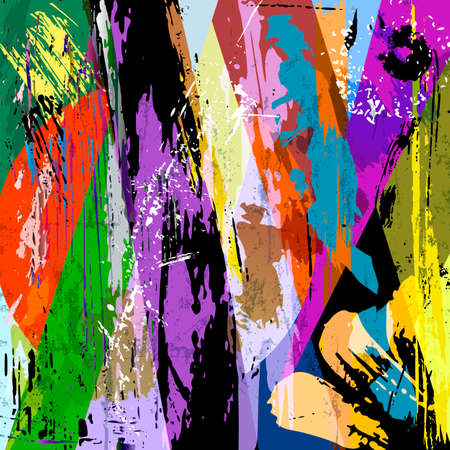abstract geometric background composition, with semicircle, paint strokes and splashes