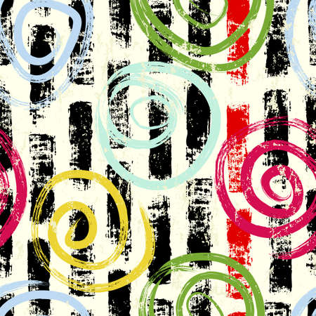seamless abstract background pattern, with circles, swirls, paint strokes and splashes