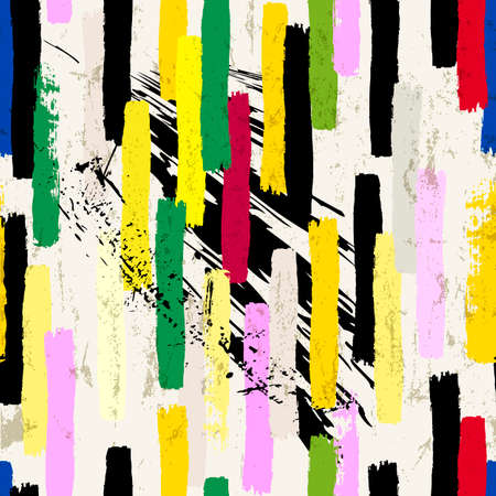 seamless abstract background composition, with stripes, paint strokes and splashes, grungy Ilustracja