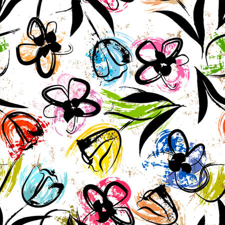 floral seamless background pattern, with paint strokes and splashes, colorful