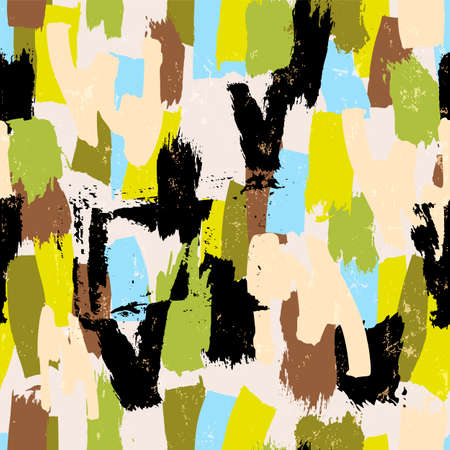 seamless abstract pattern background, illustration with paint strokes and splashes
