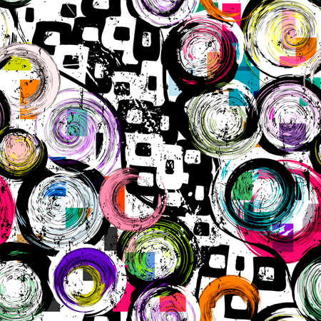 seamless background pattern, with circles, paint strokes and splashes, black and white