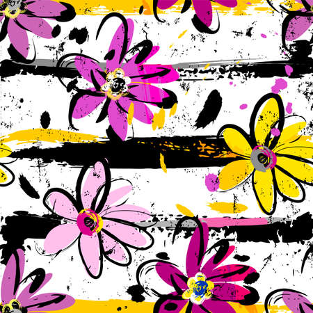 floral seamless pattern background, with flowers, stripes, paint strokes and splashes Ilustracja
