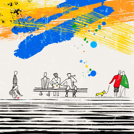 abstract background composition, illustration with figures, graphic elements, with paint strokes and splashes