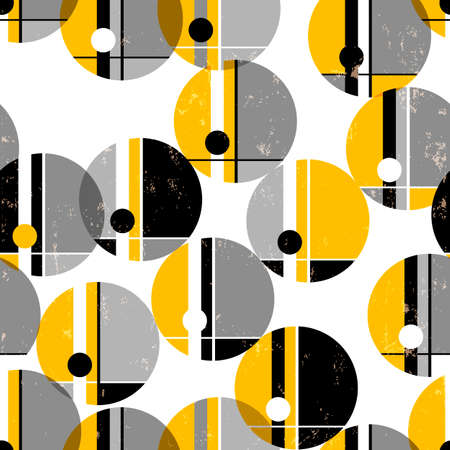 seamless geometric pattern background, retro / vintage style, with circles, paint strokes and splashes