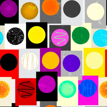 seamless geometric pattern background, with circles, squares, paint strokes and splashes, art inspired
