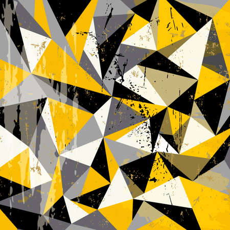 abstract geometric background pattern, with triangles, paint strokes and splashes
