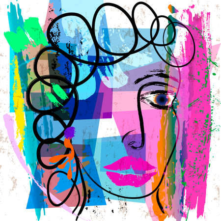abstract background composition, with paint strokes and splashes, abstract face, design
